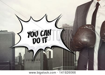 You can do it text on speech bubble with businessman wearing boxing gloves
