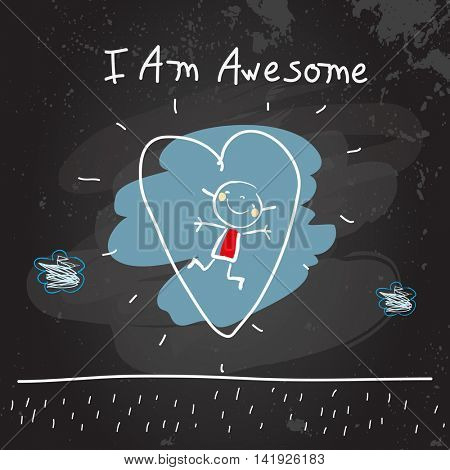 Positive affirmations for kids, motivational, inspirational concept vector illustration. I am awesome text, typography. Chalk sketch on blackboard hand drawn doodle, scribble.