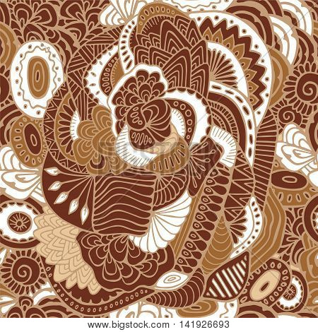 stock vector brown seamless abstract floral pattern for printing on paper fabric. Indian arabic russian or orient ornament