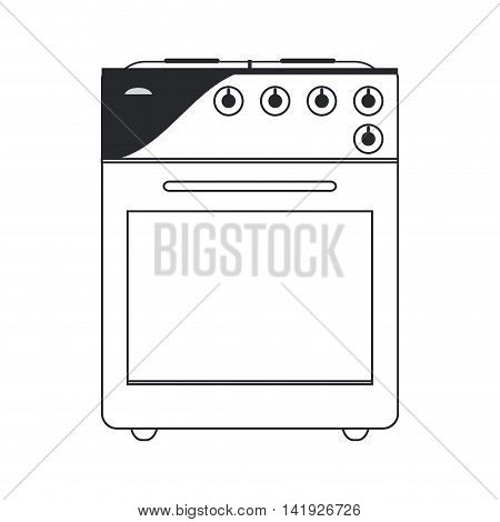flat design oven stove icon vector illustration