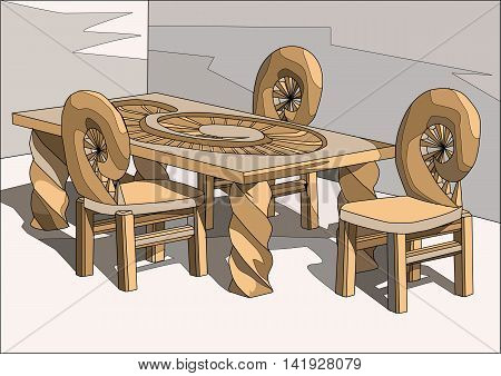chairs and table. Interior design with large table and chairs