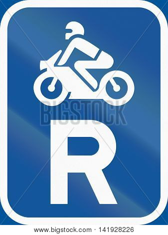 Road Sign Used In The African Country Of Botswana - Reservation For Motorcycles