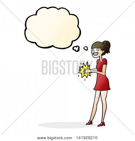 cartoon woman clapping hands with thought bubble