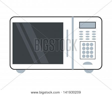 flat design microwave oven icon vector illustration