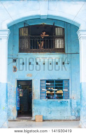 HAVANA CUBA - JULY 18 : A food store in old Havana street on July 18 2016. The historic center of Havana is UNESCO World Heritage Site since 1982.