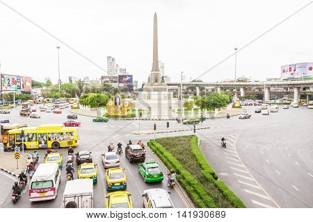 Bangkok, Thailand - June 5, 2016 : View on the Victory Monument on cloudy day at center of Bangkok. The monument has been established in June 1941 to mark a victory in war with French