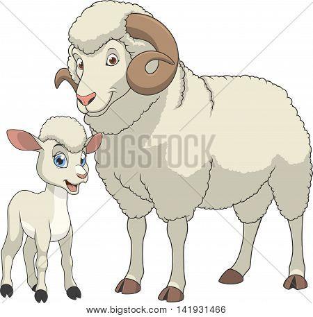 Vector illustration funny exotic animal sheeps family