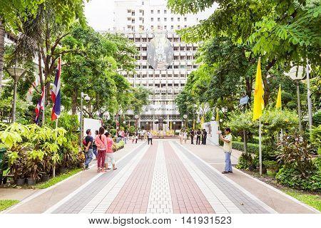 Bangkok, Thailand - June 5, 2016 : Main road leading to Prince Mahidol Memorial statue square at the center of Siriraj hospital in Bangkok