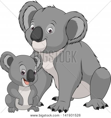 Vector illustration funny exotic animal bear koala family