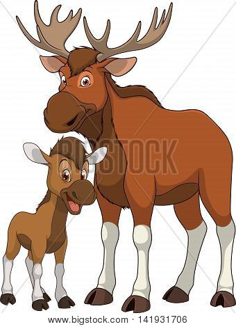 Vector illustration funny exotic animal elk family