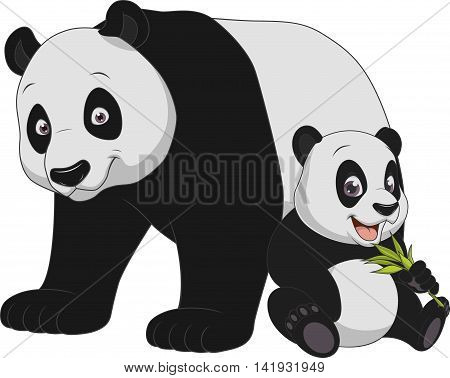 Vector illustration funny exotic animal panda family