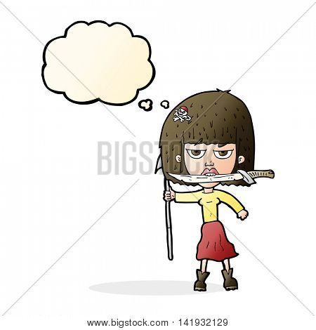 cartoon woman with knife and harpoon with thought bubble