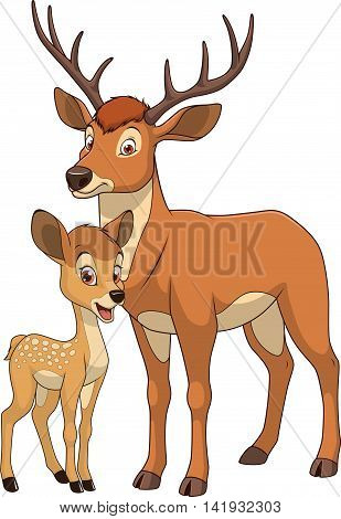 Vector illustration funny exotic animal deer family