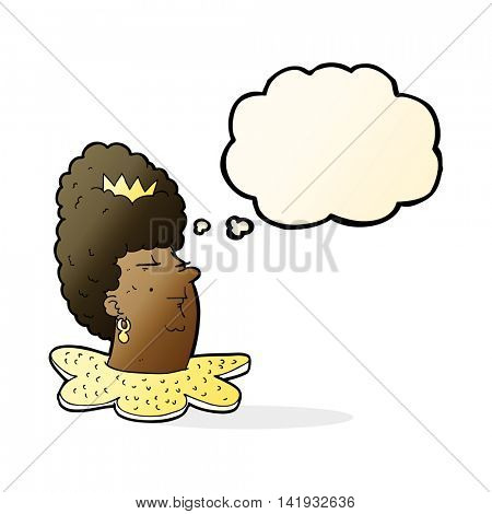 cartoon queen head with thought bubble