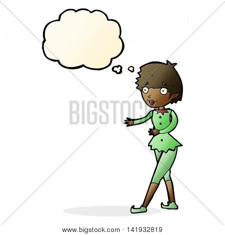 cartoon christmas elf woman with thought bubble