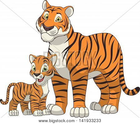 Vector illustration funny exotic animal tiger family