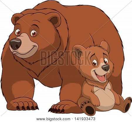 Vector illustration funny exotic animal bear family