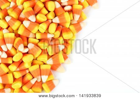 Halloween candy corns on a white background
