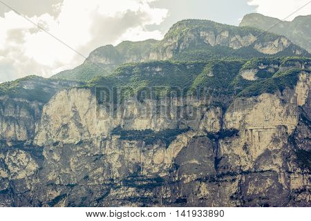 dolomites mountains rock face close to Trento Italy