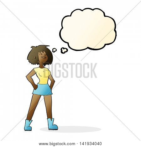 cartoon capable woman with thought bubble
