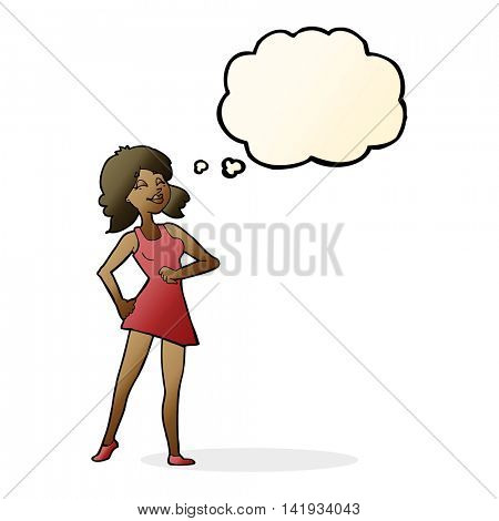cartoon proud woman with thought bubble