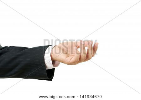 Businessman Gesturing With His Hand On White Background