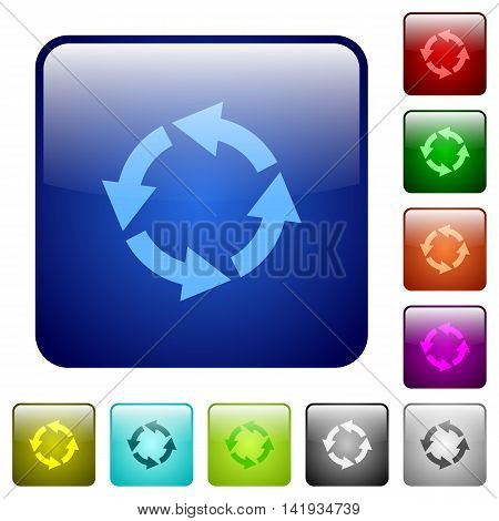 Set of rotate left color glass rounded square buttons