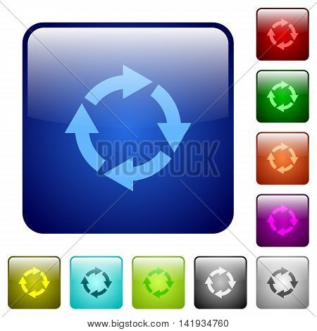 Set of rotate right color glass rounded square buttons