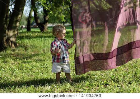 Toddler Holding Tulle