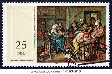 GERMANY - CIRCA 1982: a stamp printed in Germany shows Farmers Company Painting by Adriaen Brouwer Flemish Painter circa 1982