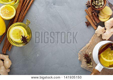 Hot ginger tea drink with lemon - natural medicine remedy for cold days