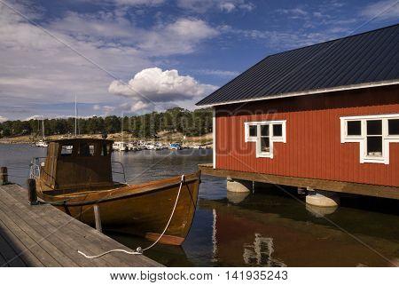 The Swedish fishing village Holick near Hudiksvall on the Baltic sea