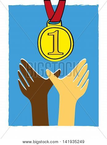 Hands of different ethnic skin tones reaching upwards for a gold medal presented as first prize for the winner in a competition