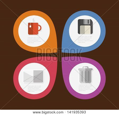 mug diskette trash envelope infographic step office icon. Flat and Colorfull illustration. Vector graphic