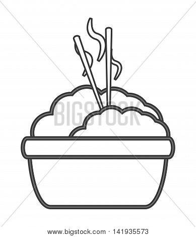 flat design rice with chopsticks icon vector illustration