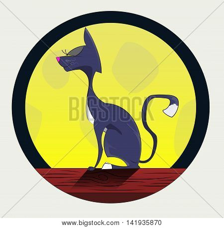 Cartoon cat on roof with moon behind. Layered vector illustration