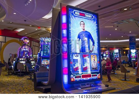 LAS VEGAS - MAY 21 : The interior of Palazzo hotel and Casino on May 21 2016 in Las Vegas. Palazzo hotel opened in 2008 and it is the tallest completed building in Las Vegas
