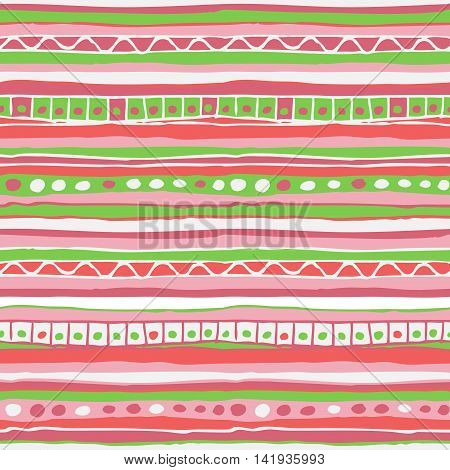 Vector colored hand drawn striped green and pink seamless pattern