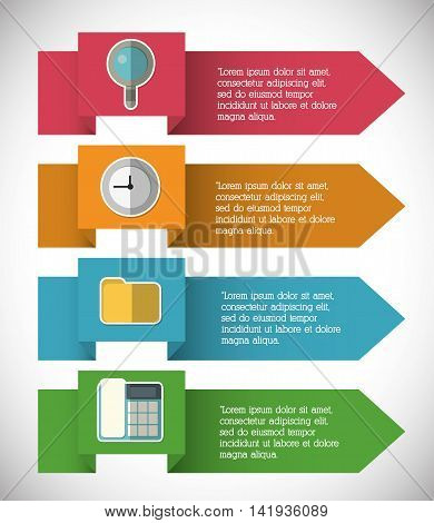 lupe phone file clock infographic step office icon. Flat and Colorfull illustration. Vector graphic