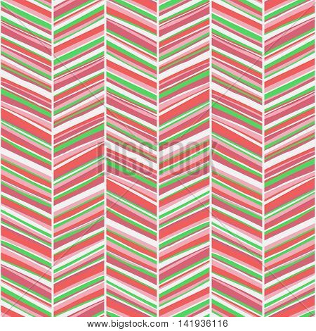 Vector zigzag seamless pattern with rough hand drawn red colored lines