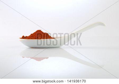 Finely ground smokey paprika on a white spoon.