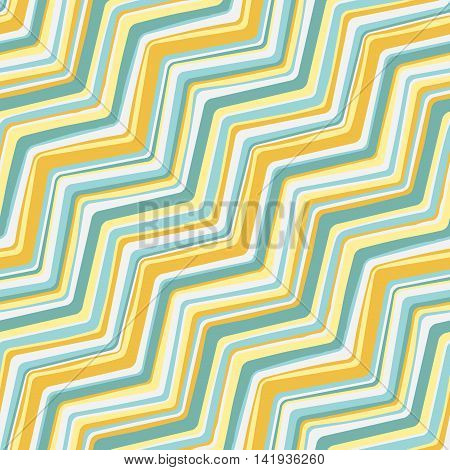 Vector diagonal seamless pattern with zigzag hand drawn blue and yellow lines