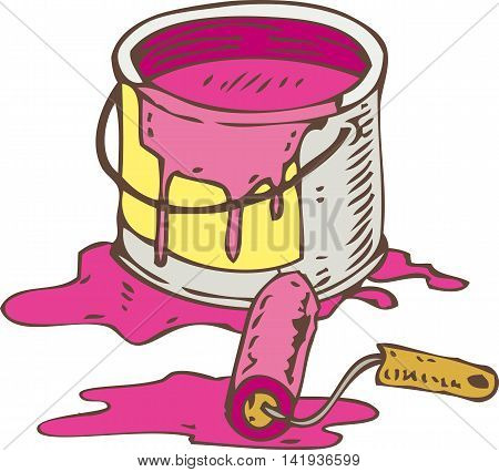 Tin Can of Pink Paint and Roller Brush Isolated on a White
