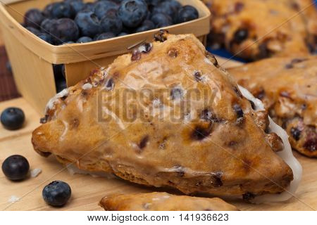 Blueberry Scones with Lemon Glaze. Selective focus.