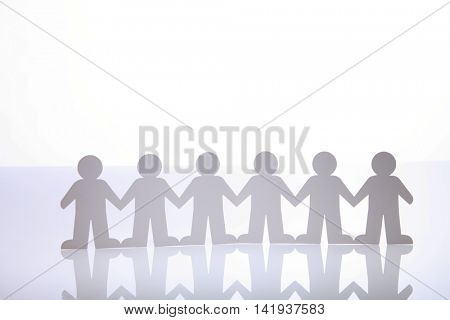 close up of paper people united
