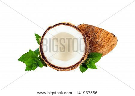 Coconut with Mint isolated on white. Selective focus.