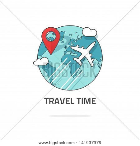 Travelling around the world by plane concept, travel and world trip logo, flat earth globe with airplane flying, location map pin pointer journey, vector isolated on white, line outline style