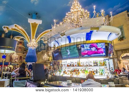 LAS VEGAS - JUNE 22 : The interior of Paris hotel and casino on June 22 2016 in Las Vegas Nevada The Paris hotel opened in 1999 and features a replica of the Eiffel Tower.