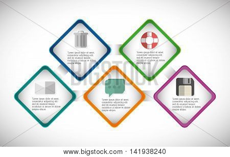 trash envelope bubble float diskette infographic step office icon. Flat and Colorfull illustration. Vector graphic