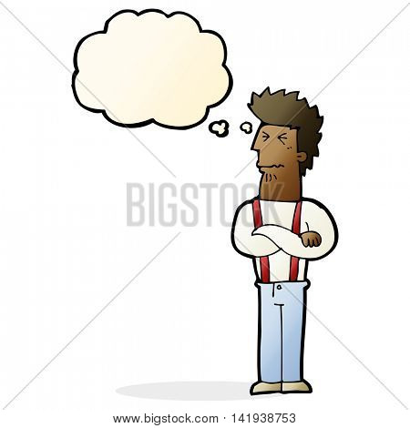 cartoon annoyed man with thought bubble